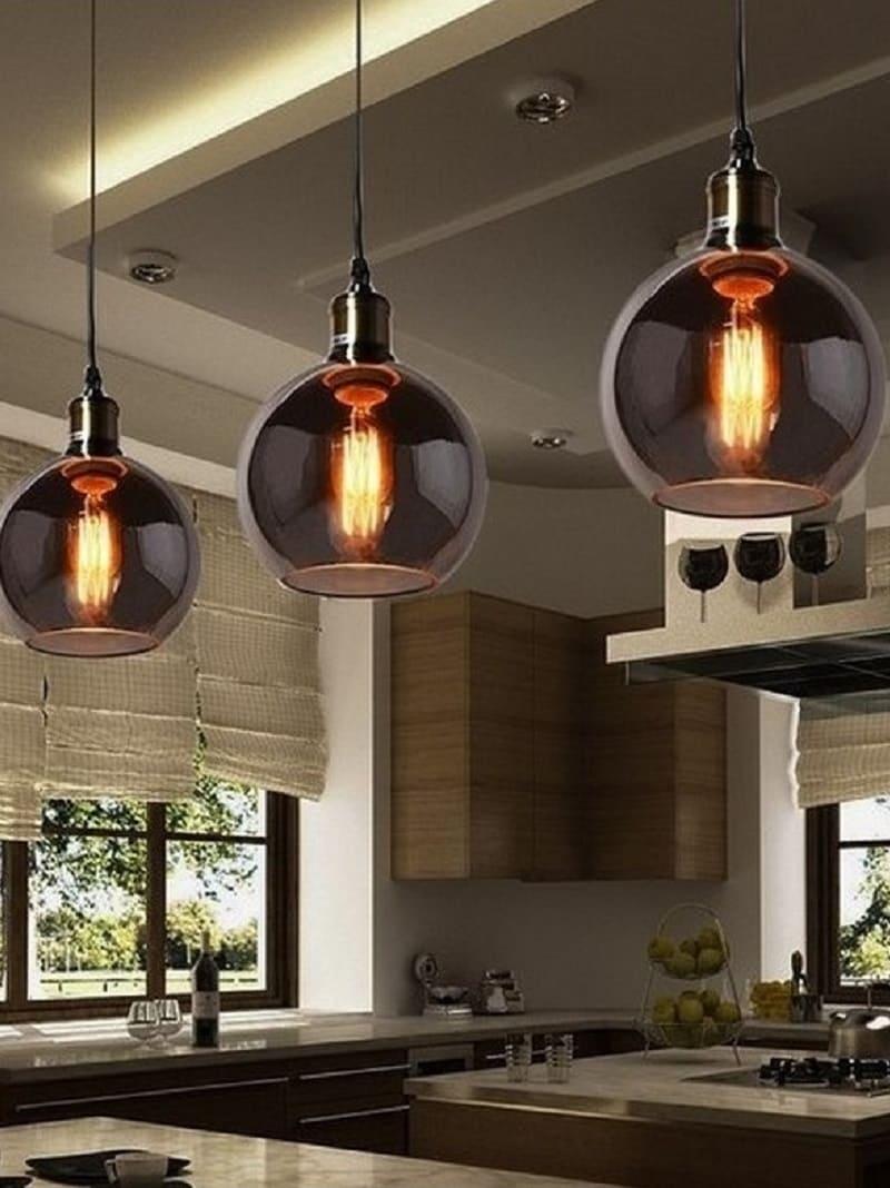 Lampada Vintage a sospensione da soffitto in vetro fumè industriale